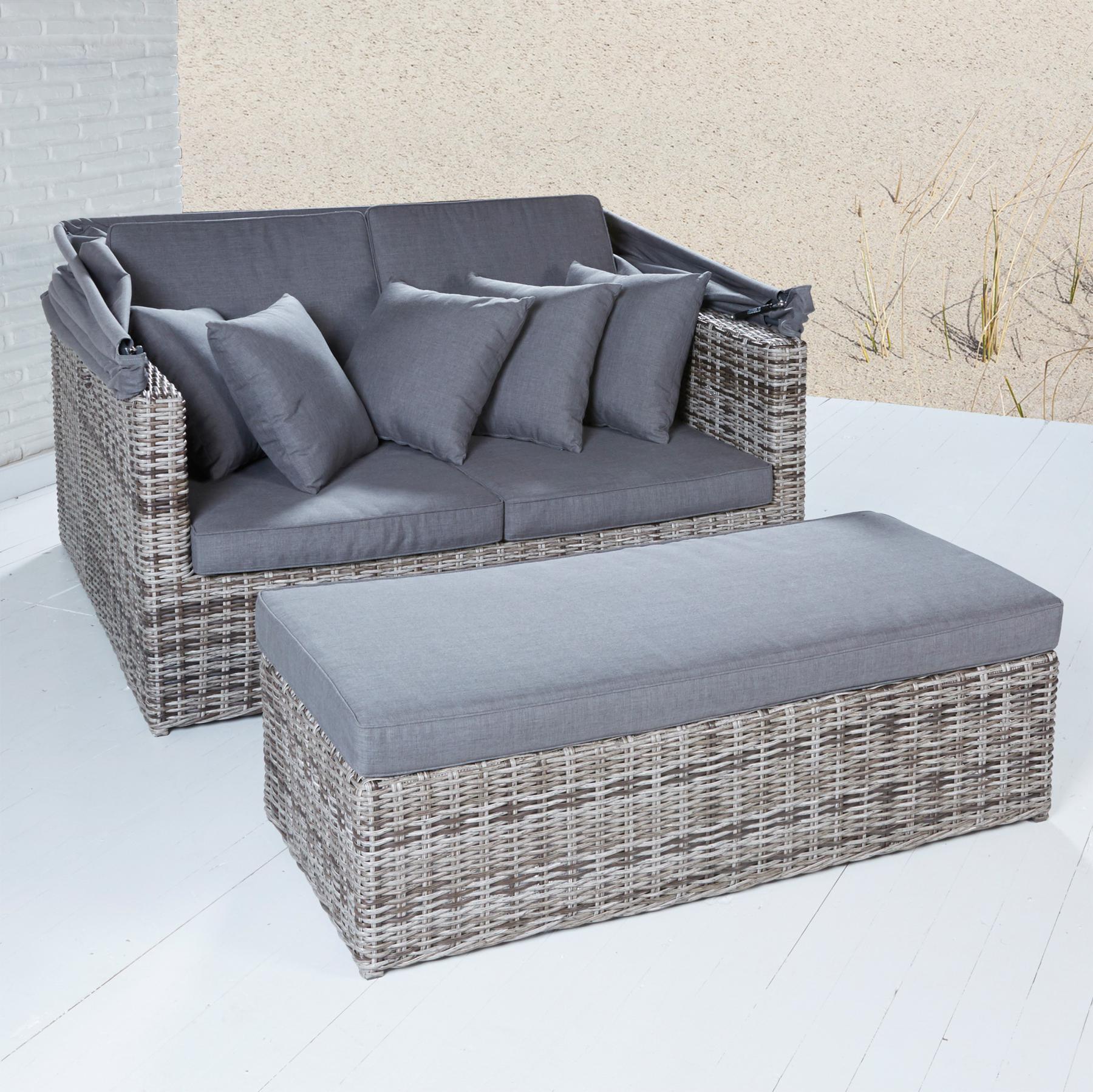strandlounge sevilla vintage braun sonnenliege polyrattan lounge muschel baldachin kaufen bei. Black Bedroom Furniture Sets. Home Design Ideas