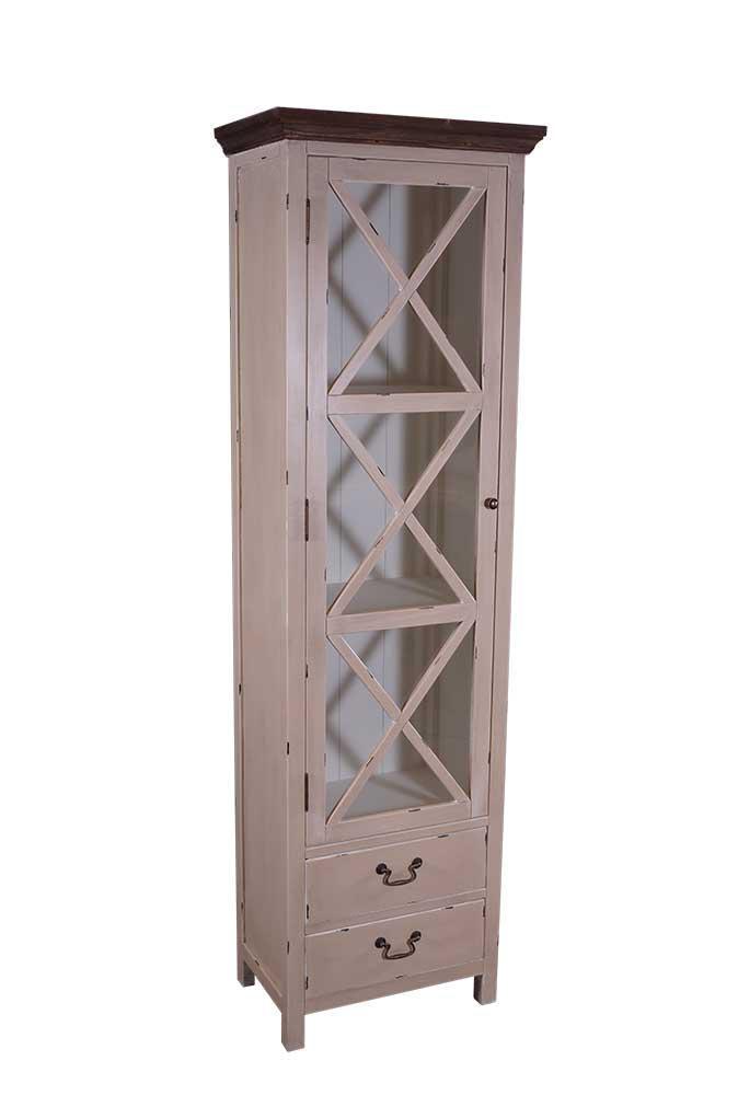 vitrinenkommode paris schmal holz vintage look creme wei kaufen bei mehl wohnideen. Black Bedroom Furniture Sets. Home Design Ideas
