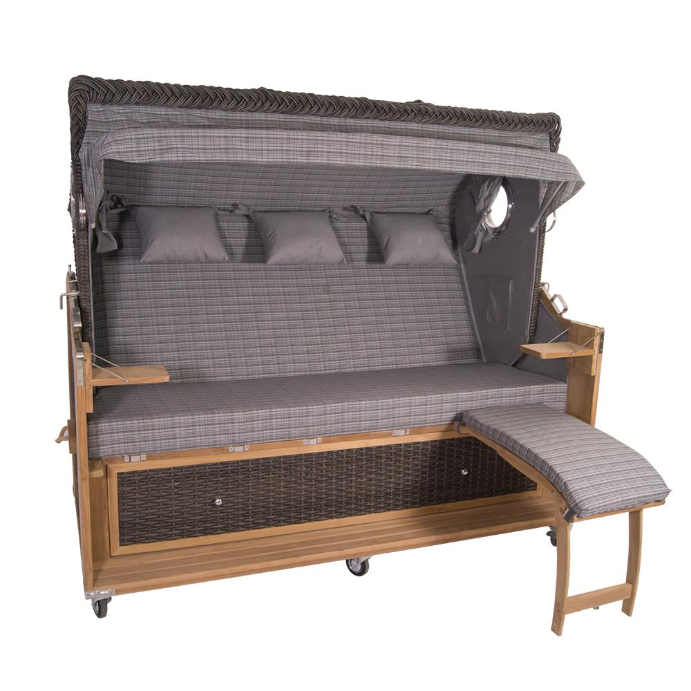 familien strandkorb kampen 4 sitzer spezial in mocca duo polyrattan pe geflecht teakholz teak. Black Bedroom Furniture Sets. Home Design Ideas