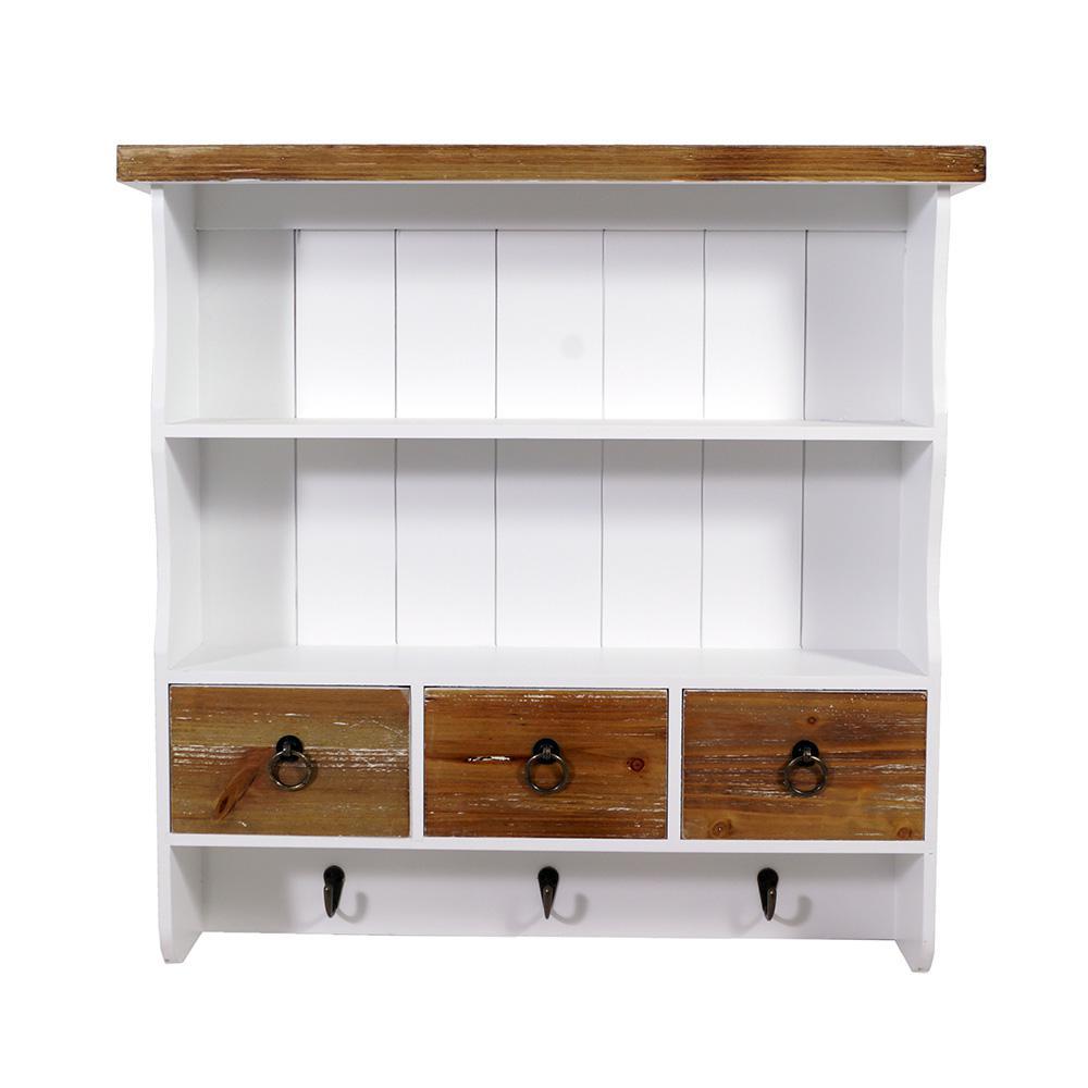 Wandgarderobe Garderobe Landhaus Stil 4 Kleiderhaken Holz Vintage