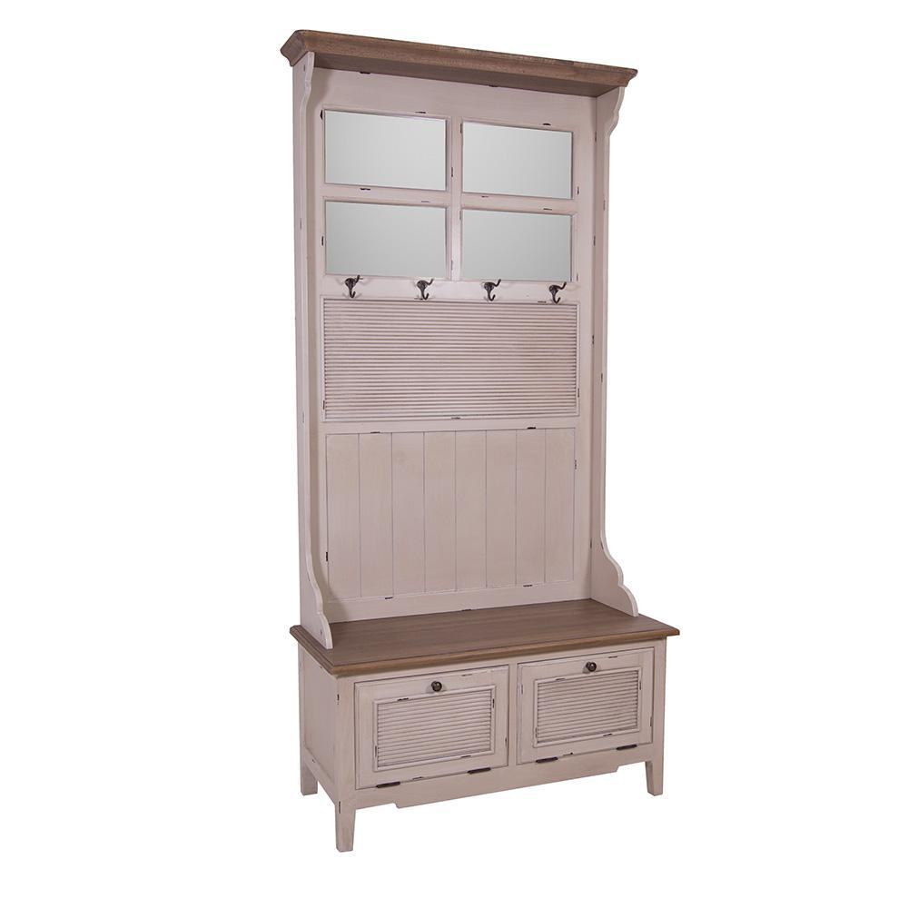 Landhausmöbel Garderobenschrank Bretagne Holz Vintage Look Creme