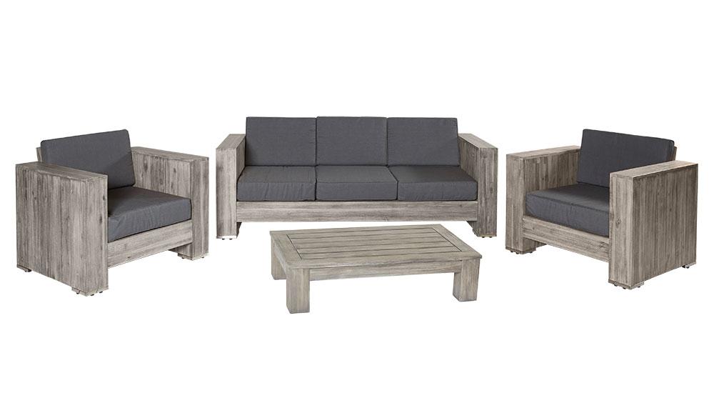 Loungegruppe Bali Grau Akazienholz Palettenmöbel Komplett Montiert  Sitzgruppe Gartenmöbel Outdoor 1 ...