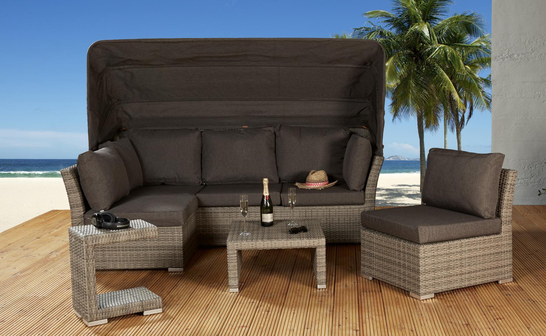 Rabida Loungegruppe Mit Dach Champagner 5 Tlg Lounge Muschel Set 1 ...