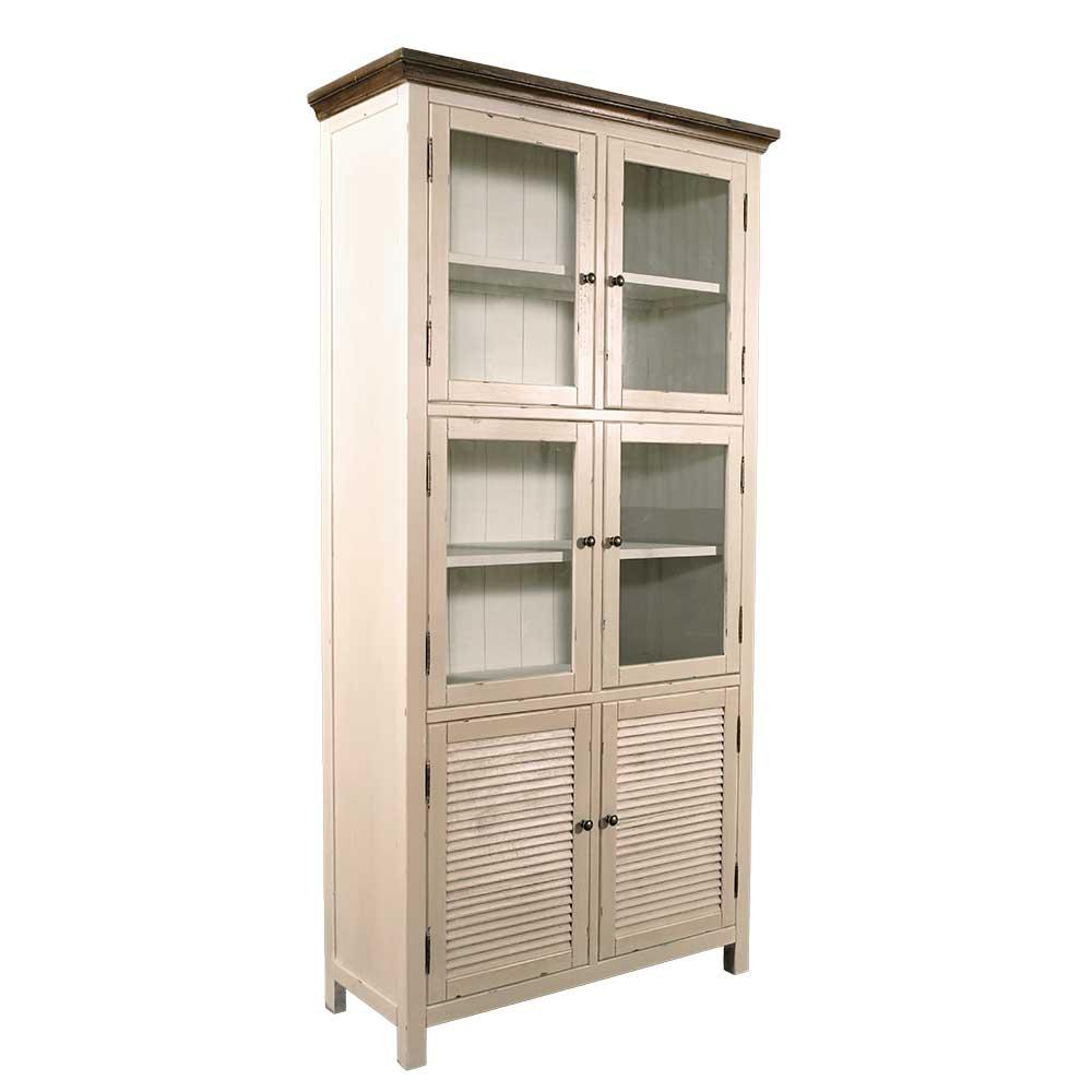 vitrinenschrank bretagne landhaus stil holz vitrine. Black Bedroom Furniture Sets. Home Design Ideas