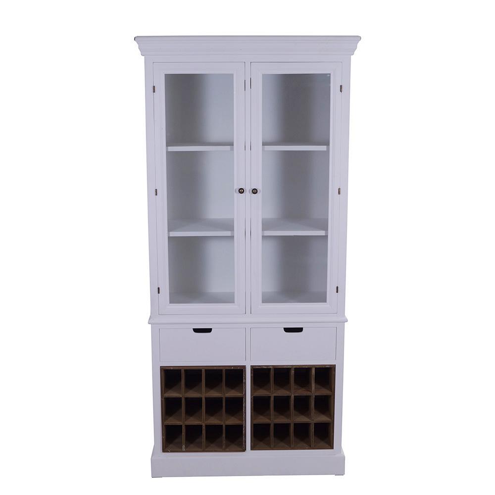 vitrinenschrank tega holz glas 2 weinregale vintage look wei kaufen bei mehl wohnideen. Black Bedroom Furniture Sets. Home Design Ideas