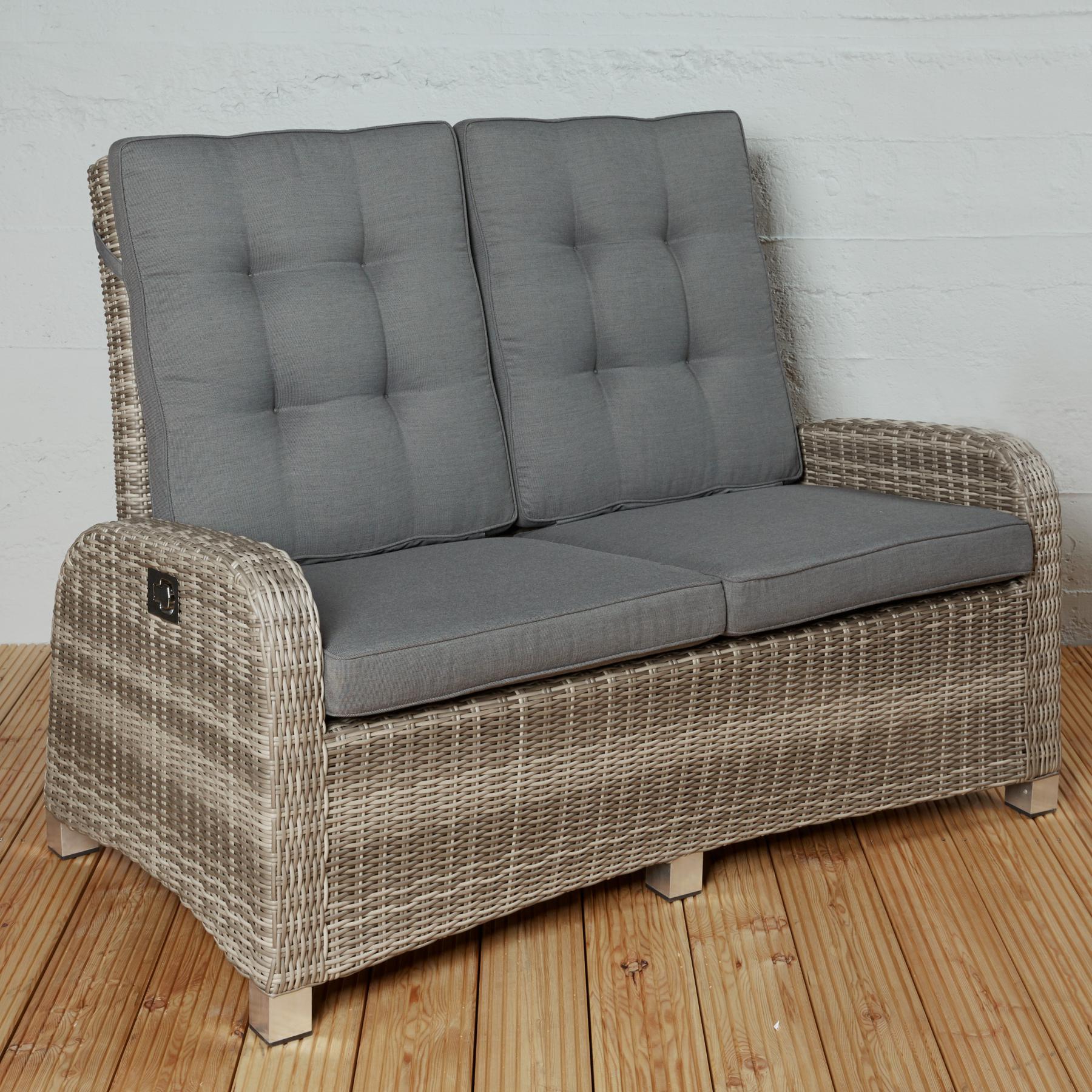 2 sitzer gartensofa rabida champagner loungesofa sofa gartenm bel living sofa polyrattan. Black Bedroom Furniture Sets. Home Design Ideas