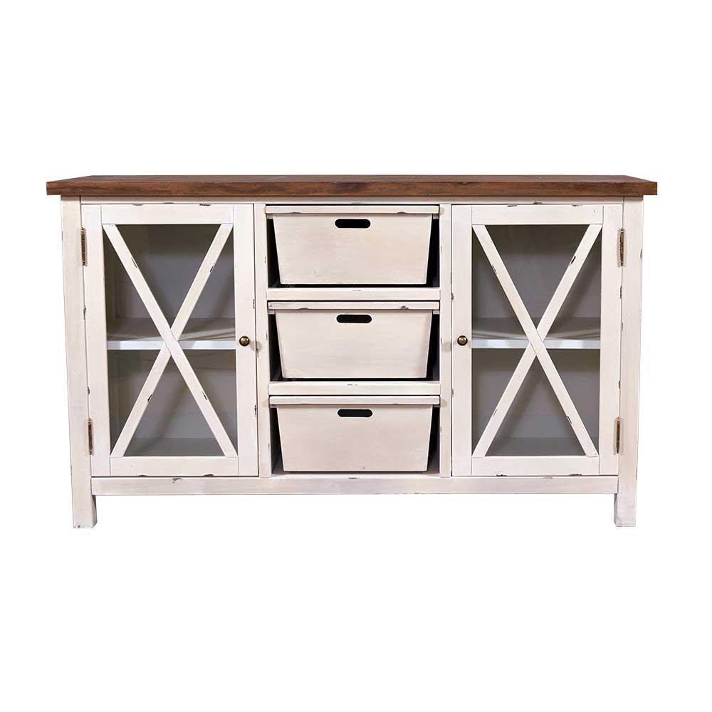 Sideboard Loire Landhaus Stil Holz Vintage Look Creme Weiss Kaufen