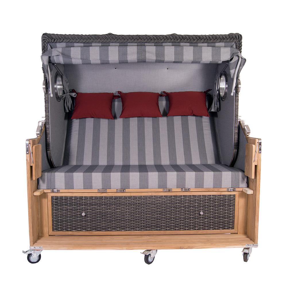strandkorb kampen spezial 3 sitzer mocca polyrattan rattan gartenm bel bullaugen 58337 kaufen. Black Bedroom Furniture Sets. Home Design Ideas