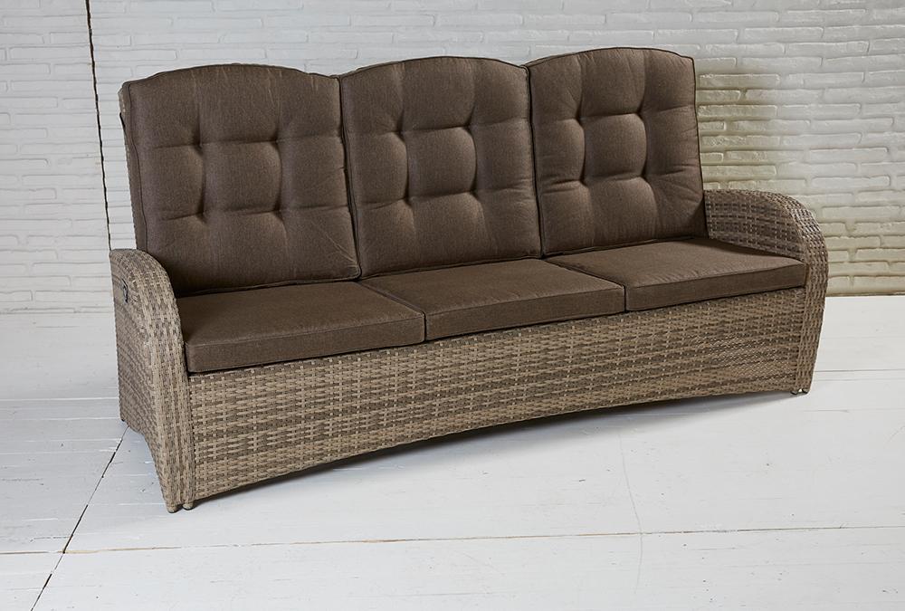3 Sitzer Living Sofa Turin Natur Geflecht Polyrattan Gartensofa