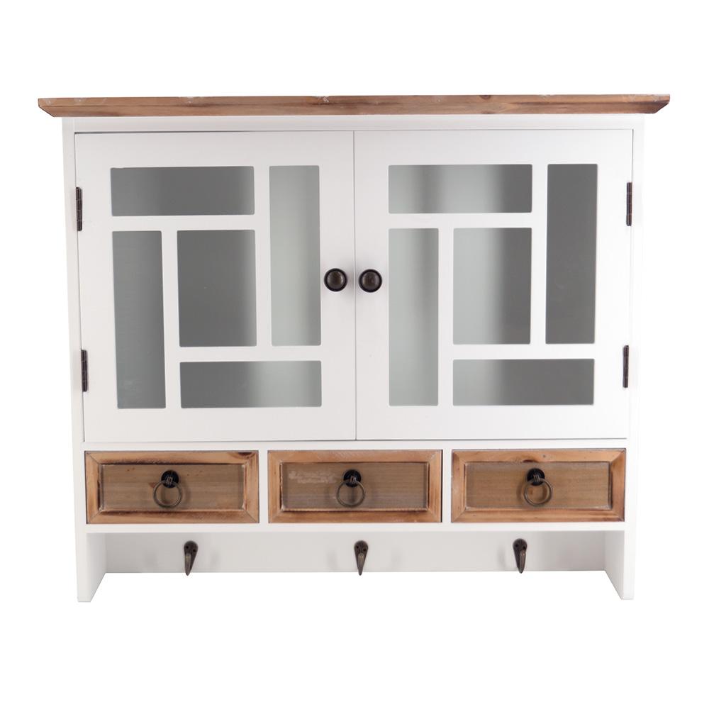 Wandregal Florence S Landhaus Stil Hängeregal Küchenregal Holz Vintage Look weiß