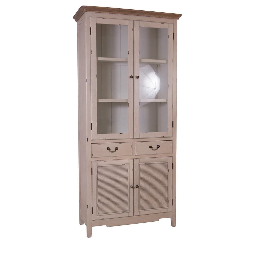 vitrinenschrank linde landhaus stil holz vitrine vintage look creme wei kaufen bei mehl wohnideen. Black Bedroom Furniture Sets. Home Design Ideas