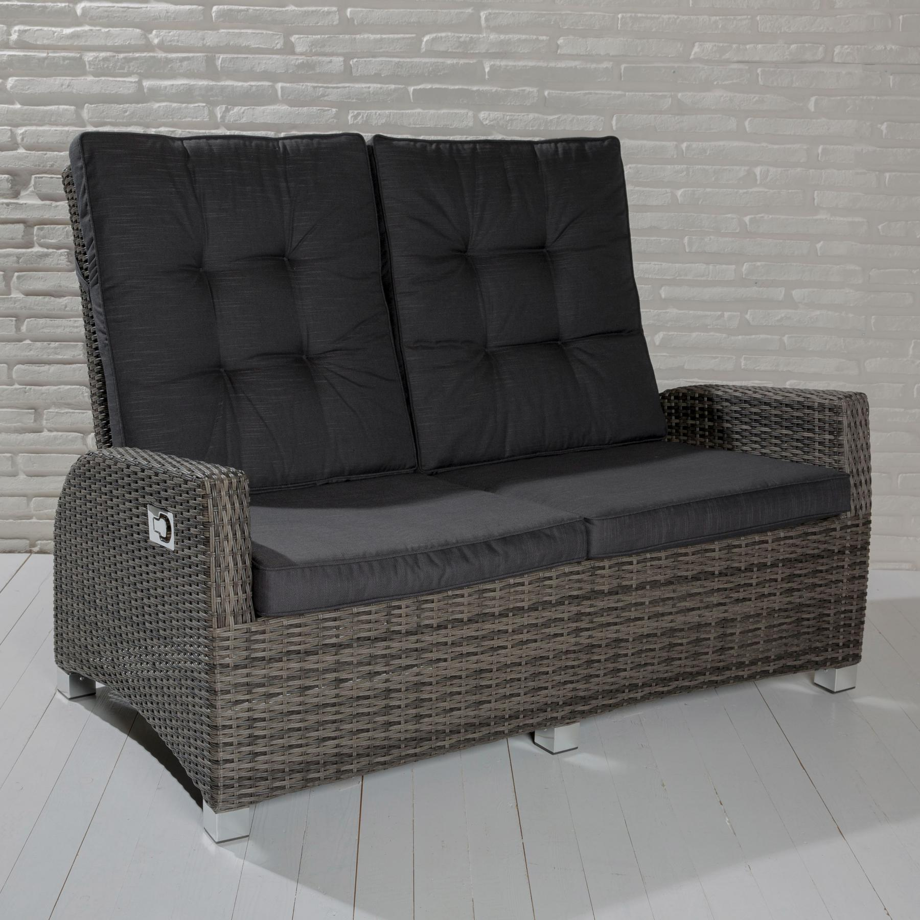 2 sitzer gartensofa barcelona grau mix loungesofa sofa gartenm bel living sofa polyrattan. Black Bedroom Furniture Sets. Home Design Ideas