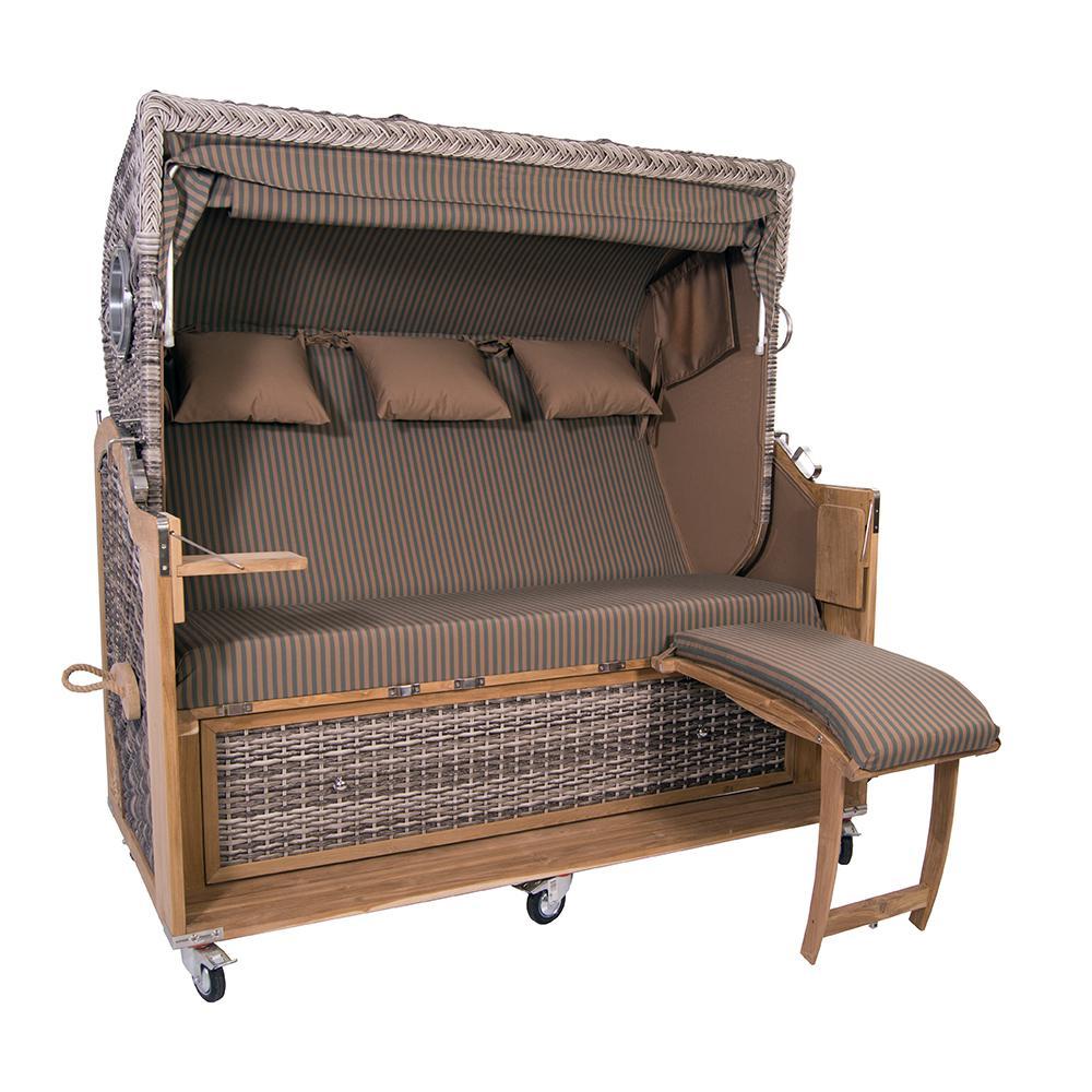 strandkorb kampen spezial 3 sitzer white oak polyrattan rattan gartenm bel bullaugen 57436. Black Bedroom Furniture Sets. Home Design Ideas