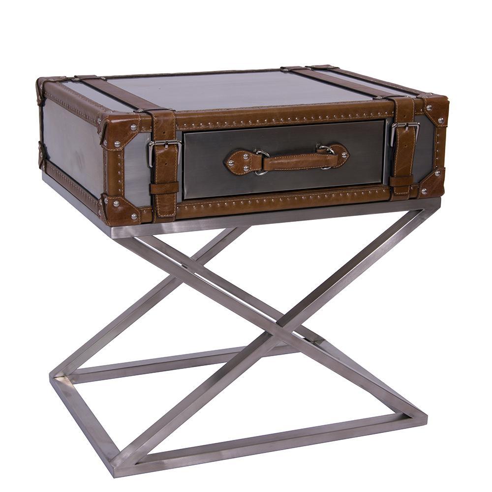 beistelltisch marlowe stahl leder vintage-optik kofferdesign