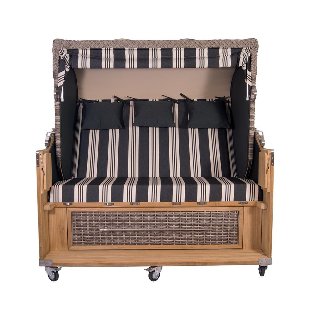 strandkorb kampen 3 sitzer white oak polyrattan rattan teakholz gartenm bel sport schwarz. Black Bedroom Furniture Sets. Home Design Ideas