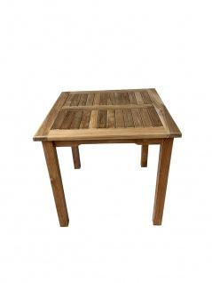Teakholz Gartentisch rechteckig 80x80 Teak Tisch Beistelltisch Holztisch