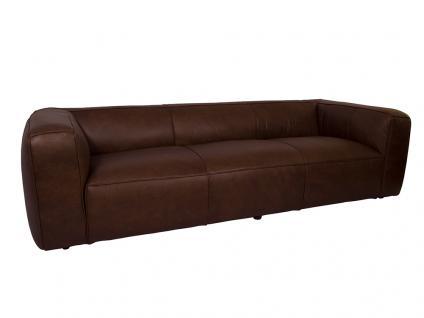 Clubsofa Dublin Chocolate Brown 3-Sitzer Sofa Couch Ledersofa Rindsleder Designsofa