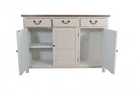 Kommode Bretagne XL 3 Türen Holz Vintage Look creme weiß - Vorschau 2