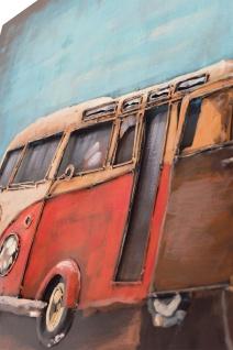 Handgefertigtes Metallbild Bus & Surf ca. 120x80 cm Kunst Bild 3D-Optik Wandbild - Vorschau 2