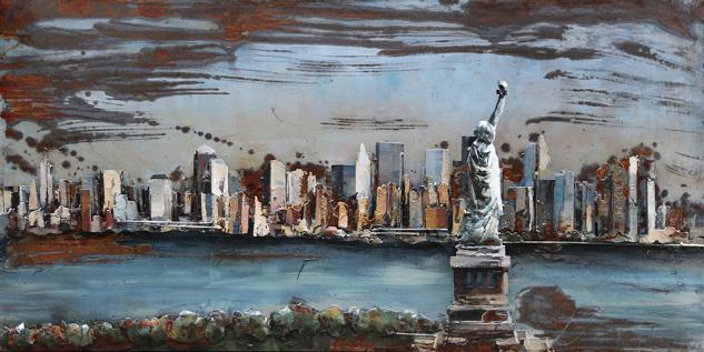 Handgefertigtes Metallbild NYC ca. 120x60 cm Kunst Bild 3D-Optik Wandbild - Vorschau