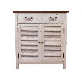 Kommode Bretagne Landhaus Stil Holz Vintage Look creme weiß - Vorschau 2