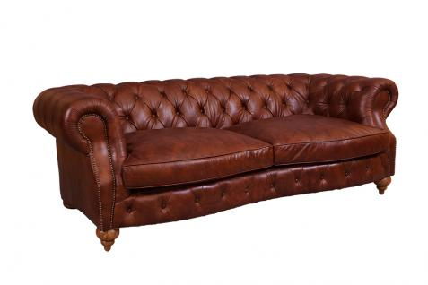 Castlefield Montaigne Brown Sofa 3-Sitzer Chesterfield-Stil