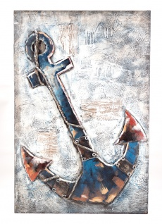 Handgefertigtes Metallbild Anker ca. 60x90 cm Kunst Bild 3D-Optik Wandbild