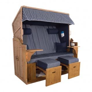 XXL 2, 5 Sitzer Natur Strandkorb Hörnum Blau Nadelstreifen