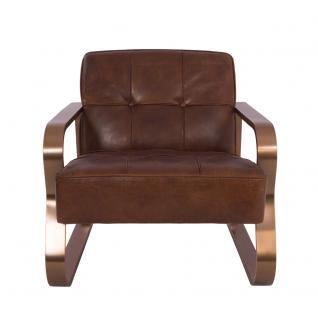 Design-Clubsessel Savona Vintage Cigar Edelstahl Kupfer-Finish Ledersessel Leder Sessel - Vorschau 2