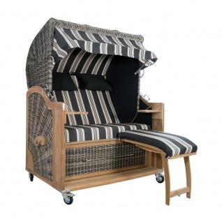 Strandkorb Kampen 2, 5-Sitzer White Oak Set 9 inkl. Industrierollen und Hydraulikdämpfer