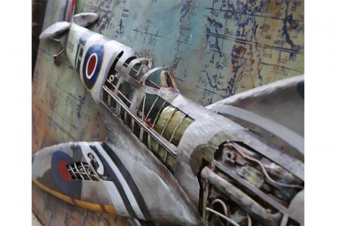 Handgefertigtes Metallbild Spitfire ca. 120x80 cm Kunst Bild 3D-Optik Wandbild - Vorschau 3