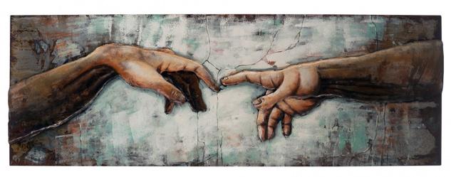 Handgefertigtes Metallbild Michelangelo ca. 40x120 cm Kunst Bild 3D-Optik Wandbild