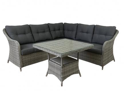 4 tlg. Loungeecke Speiselounge Soria grau-mix Loungeset Gartenmöbel Polyrattan Sitzgruppe