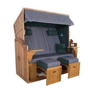 XXL 2, 5 Sitzer Natur Strandkorb Hörnum Grün-Blau Nadelstreifen