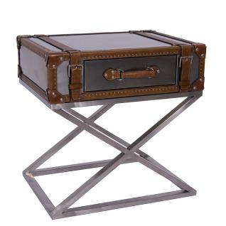 Beistelltisch Marlowe Stahl Leder Vintage-Optik Kofferdesign Couchtisch