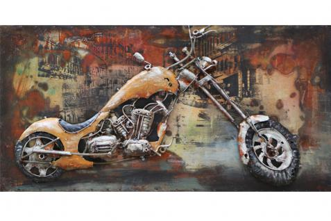Handgefertigtes Metallbild Custom Bike ca. 140x70 cm Chopper Kunst Bild 3D-Optik Wandbild - Vorschau