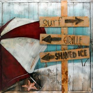 Handgefertigtes Holz-Metallbild Beach on Wood ca. 80x80 cm Kunst Bild 3D-Optik Wandbild