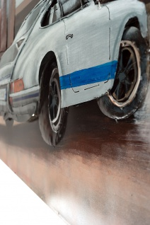 Handgefertigtes Metallbild Porsche 911 white ca. 115x75 cm Kunst Bild 3D-Optik Wandbild - Vorschau 3