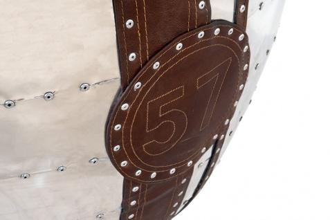 Design Schalensessel Saltum Cuba Brown Vintage Leder Aluminium - Vorschau 5