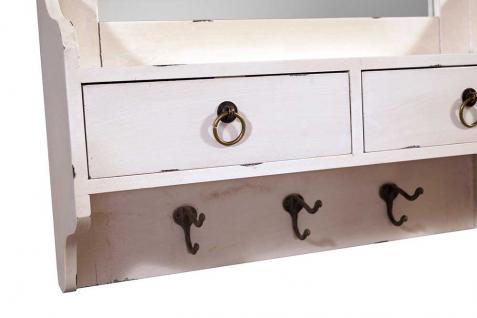 Wandgarderobe Provence mit Spiegel Landhaus Stil Holz 2 Schubladen Vintage Look creme weiß - Vorschau 2