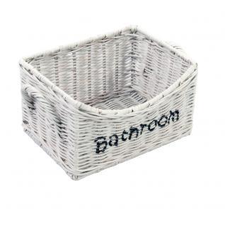 Aufbewahrungsbox Bathroom XL weiß Rattankorb Naturrattan Korb Körbchen