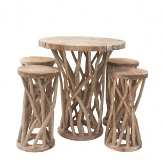 Möbelset Teakholz Äste Tischset Tisch 4 Hocker
