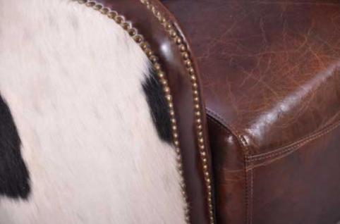 Clubsofa Dallas 2-Sitzer Vintage-Leder Kuhfell - Vorschau 5