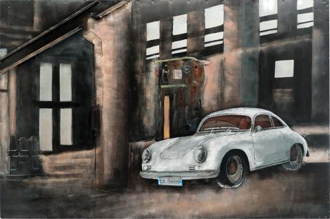 Handgefertigtes Metallbild Porsche front ca. 115x75 cm Kunst Bild 3D-Optik Wandbild