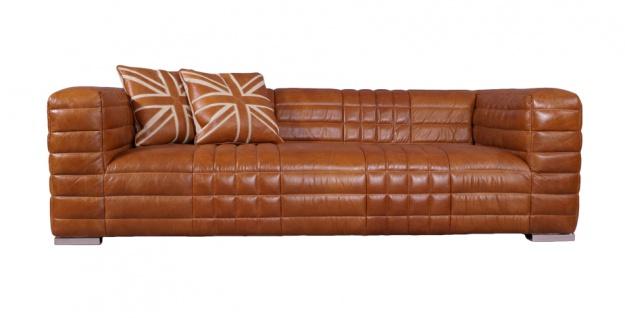 Designsofa Birsay 2, 5-Sitzer Vintage-Leder Columbia Brown Ledersofa