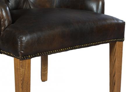 Stuhl Nelson Dark Esszimmerstuhl Vintage-Leder dunkelbraun Chesterfield-Look - Vorschau 5