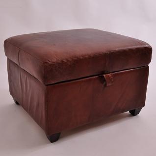 Fußhocker Birmingham mit Stauraum Vintage-Leder - Vorschau 1