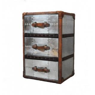 Schubladenschrank TomCat 3 Aluminium Vintage-Leder