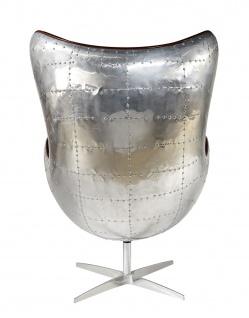 Design Schalensessel Saltum Vintage Dark Leder Aluminium - Vorschau 4
