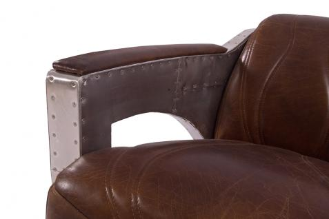 Designsessel Nash Leder Vintage Cigar Aluminium Clubsessel Ledersessel - Vorschau 5